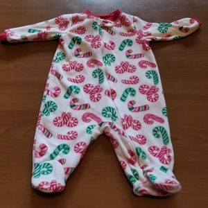 Holiday Time Candy Canes Fleece Footed Pajamas